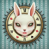 Fantasy  Pocket Watch. Fantasy illustration with a pocket watch Wonderland and head mask bunny girl. Computer graphics Royalty Free Stock Image