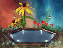 Fantasy pool with flowers Royalty Free Stock Photo