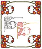 Fantasy poppies border Stock Photos