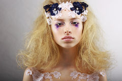 Fantasy. Portrait of Bright Blond with Unusual Makeup. Creativity Royalty Free Stock Photography