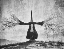 Fantasy portrait. Of a person wearing a long black cloak and a dunce hat with the branch hands Stock Images