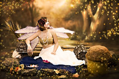 Fantasy Portrait With Wings Stock Photo