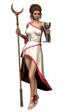 Fantasy priestess with a moon staff Royalty Free Stock Images