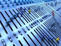 Fantasy Professional mixing console in a sound studio. Royalty Free Stock Image
