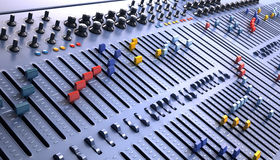 Fantasy Professional mixing console in studio. Royalty Free Stock Image