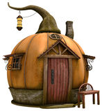 Fantasy pumpkin cottage with a lantern Stock Photo
