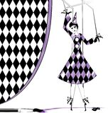 Fantasy puppet Pierrette. Fantasy hand puppet Pierrette and brush with purple paint Royalty Free Stock Photos
