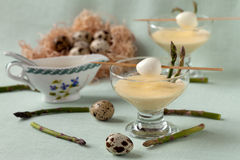 Fantasy With Quail Eggs And Wild Asparagus Royalty Free Stock Images