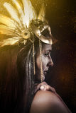 Fantasy Queen, young with golden mask, ancient goddess Stock Photos