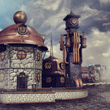 Fantasy railway station Stock Images