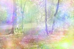 Fantasy Rainbow Woodland. Woodland scene with a river in the background and a colorful wash of rainbow colors depicting a fantasy woodland scene stock photo