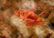 Fantasy red  dragon sleeping in a maze. Stock Photography