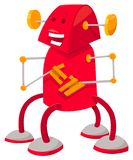 Fantasy red robot or droid cartoon character. Cartoon Illustration of Cute Red Robot or Droid Fantasy Character