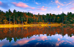 Fantasy reflection landscape. In sunset time Stock Images
