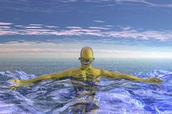 Fantasy render. 3d fantasy cyborg afterlife swimming relaxation render Royalty Free Stock Photos