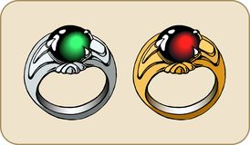 Fantasy ring with a stone. For game design royalty free illustration