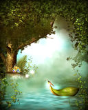 Fantasy river with bird in wood Stock Photos