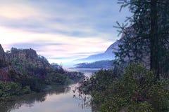 Fantasy river. 3D rendered fantasy river scene illustration on sunset Stock Photos