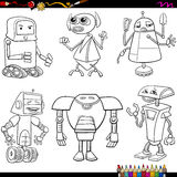 Fantasy robots cartoons coloring page Stock Photo