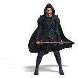 Fantasy Rogue with Sword. Rendering of a male fantasy hero with sword and Clipping Path over white Stock Image