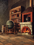 Fantasy room with books and cobwebs royalty free illustration