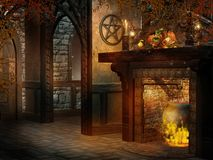 Fantasy room with fireplace and cornucopia. Fantasy room with cornucopia decorations, fireplace, and candles Royalty Free Stock Images