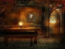 Fantasy room with a magic crystal Royalty Free Stock Photos