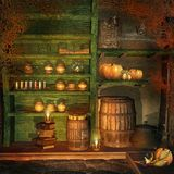 Fantasy room with pumpkins and bats vector illustration