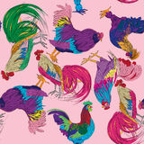 Fantasy roosters pattern Stock Photography