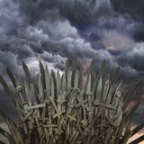 Fantasy, royal throne made of iron swords, seat of the king, symbol of power and reign royalty free stock image
