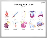 Fantasy RPG icons Flat pack royalty free illustration