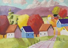 Fantasy rural scene with a small village stock illustration