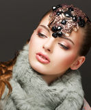 Fantasy. Russian Woman fashion Model with Brilliant Crown Stock Photo