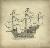 Fantasy sailing ship stock illustration