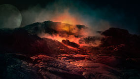 Fantasy scene of active volcano. Fantasy close up scene of active volcano with fire, ice and smoke on the top. Iceland, Europe Stock Image