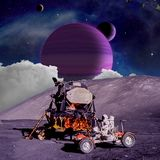 Fantasy scene of an Astronaut on an alien planet vector illustration