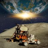 Fantasy scene of an Astronaut on an alien planet or moon. stock illustration