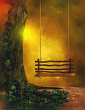 Fantasy Scene. Fantasy background with tree, ivy and wooden swing Royalty Free Stock Photography
