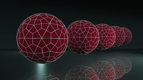 Fantasy scene, close up view of five red balls. stock illustration