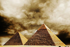 Fantasy scene of giza pyramids Royalty Free Stock Photography