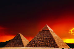 Fantasy scene of giza pyramids Stock Images