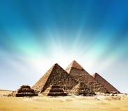 Fantasy scene of giza pyramids. Fantasy scene of the giza pyramids Royalty Free Stock Image