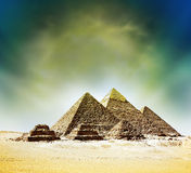 Fantasy scene of giza pyramids Royalty Free Stock Photo