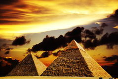 Fantasy scene of giza pyramids Stock Photos