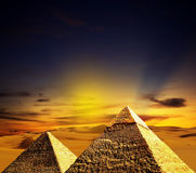 Fantasy scene of giza pyramids Stock Image