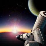 Fantasy scene of Shuttle- Space Station near alien planet. Fantasy scene of Shuttle and Space Station around alien planet. Computer Illustration Not 3D Render. ` vector illustration