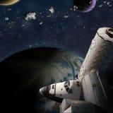 Fantasy scene of Shuttle- Space Station near alien planet. Fantasy scene of Shuttle and Space Station around alien planet. Computer Illustration Not 3D Render. ` royalty free illustration