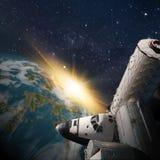 Fantasy scene of Shuttle- Space Station near alien planet. Fantasy scene of Shuttle and Space Station around alien planet. Computer Illustration Not 3D Render. ` stock illustration