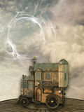Fantasy scene with steam punk style Royalty Free Stock Image