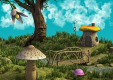 A fantasy meadow with a blue sunny sky. A fantasy scene with a tree with a face on it and houses made of mushrooms vector illustration